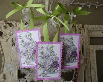 Vintage Easter gift tags paper ornaments lavender floral tags purple glitter Easter home decor