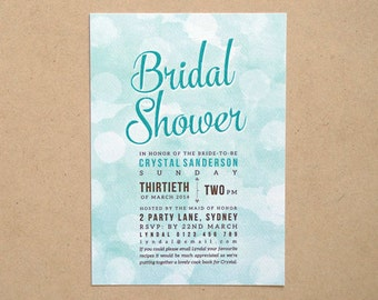 Printable Custom Bridal Shower (or any occassion) invitation - Watercolour