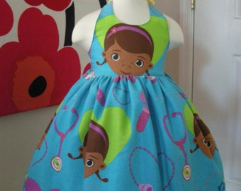 Custom Made to Order Disney Doc mcstuffins party dress Sz 12M to 6T