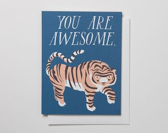 You Are Awesome Notecard with Tiger