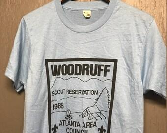 S nos thin vintage 80s 1988 Woodruff Boy Scouts BSA camp Atlanta t shirt
