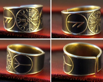The Helm of Awe Rune adjustable ring
