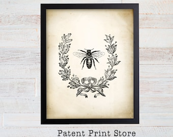 Vintage Honey Bee Art Print. Farmhouse Decor. Farmhouse Wall Decor. Farmhouse Art. Kitchen Art. Dining. Beekeeping Print. Bee Print. 121
