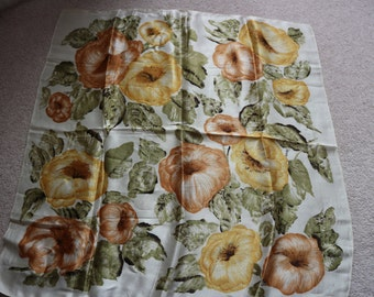 Vintage 50s 60s floral silky scarf golds greens cream tan square
