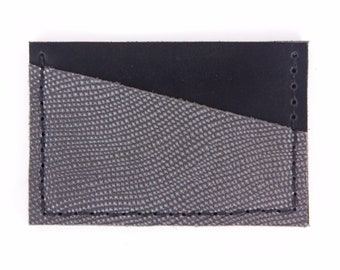 Leather Card Organizer - Metallic Lizard