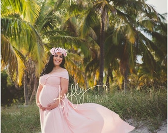 Embrace Jersey Maternity Gown / Bridesmaids Dress, Photo Prop, Pink Powder
