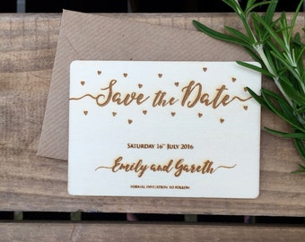 SAMPLE // Engraved Wooden Save the Date Confetti Hearts // 105 x 74mm // Wedding Invitation
