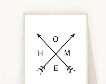Home Arrow Print, Arrow Printable, Home Print, Black and White Wall Prints, Printable Wall Art,  Downloadable Wall Prints, Arrow Art