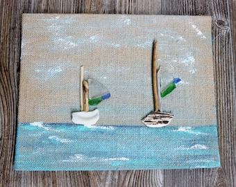 Original Driftwood & Seaglass Artwork for Nautical Nursery and Coastal Wall Decoration , Beach House Art
