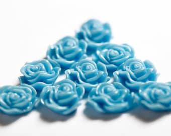 Baby Blue Flower Cabochons, Flower Cabs, Flat Back Embellishment, Rose Shaped, 13mm (R1-037)