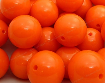 20mm Dark Orange Chunky Bubblegum Beads - 10pcs - Candy Color Gumball Beads, Chunky Beads, Round Acrylic Beads - BR1-2
