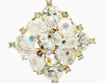 Juliana Crystal and Clear Small Rhinestone Brooch