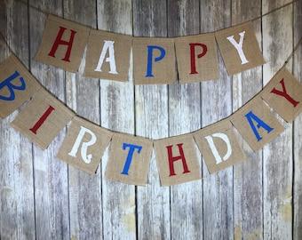 Paddington Birthday Banner, Burlap Happy Birthday Banner, Happy Birthday Banner, Birthday Banner