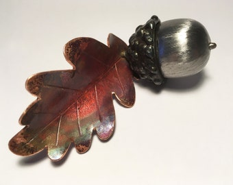 Acorn with copper oak leaf