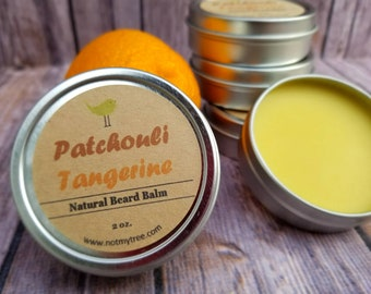 Patchouli Tangerine Beard Balm, Mustache Wax, Beard Care, Facial Hair Grooming, Beard Conditioner, Natural Body Care, Gift for Him