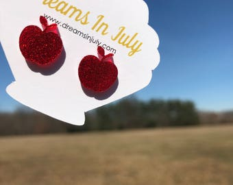 Apple Earrings, Apple Studs, Red Glitter Earrings, Teachers, Teacher Gifts, Red Earrings,Apples, Teacher Appreciation, End of the year gifts