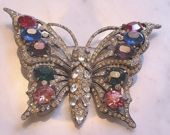 Staret Rhinestone Butterfly Brooch - colored stones - marked