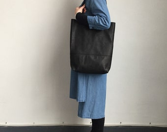 Black leather slouchy shopper bag, holiday bag, leather shoulder bag, soft leather tote bag, black leather work bag, leather laptop bag