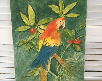 Vintage original oil painting Polly the parrot on branches  L P Bantz retro decor boho decor 14 by 18 inches bird collector