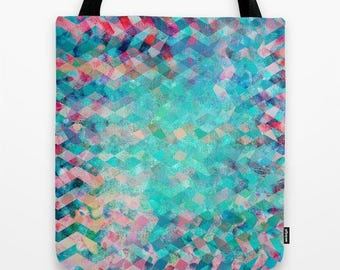 abstract pattern fabric tote-carry-all bag-market tote-school tote bag-gift for her-blue and pink-geometric pattern design