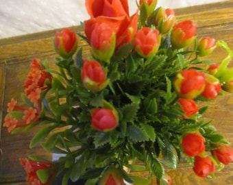 Plastic Rose Buds  set of 4  1950's Bunches
