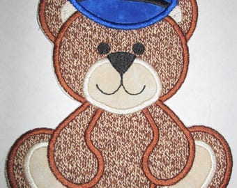 Cute Police Teddy - Iron On or Sew On Embroidered Applique Patch