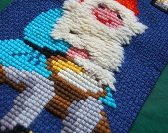 Vintage Christmas Wall Hanging Santa Dwarf Cross Stitch Embroidery Picture