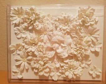 Baby nursery decor wall art flowers on canvas in shadowbox