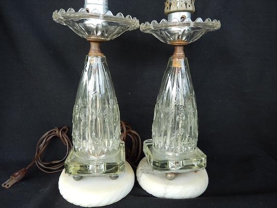 Antique Crystal Boudoir Lamps Antique Crystal Lamps Pair