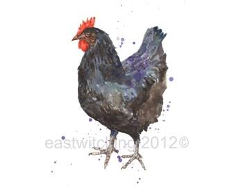 Black Chicken Print, Rustic Kitchen Art