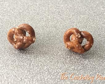 Pretzel Earrings Studs Pretzel Jewelry Polymer Clay Pretzel - Small