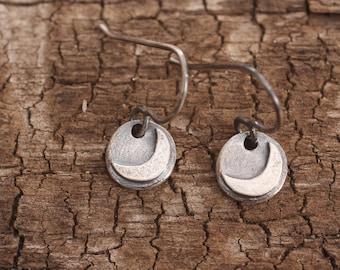 moon loves | sterling silver crescent dangle earrings | oxidized