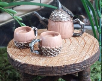 Fairy Garden Miniature Acorn Tea Set (Resin)  for your Fairy Garden, Miniature Tea Pot and Two Mug Set  (resin), Doll House, 3 piece Set