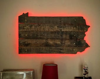 Pennsylvania State Wall Art - Repurposed Rustic Pallets & LED Lights