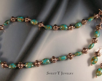 Mosaic Turquoise  and Copper Necklace Set