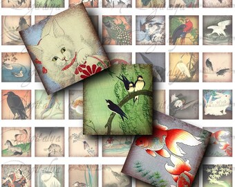 Asian Fauna (1) Digital Collage Sheet - Antique prints from Asia - 56 Squares 1x1 or smaller for scrabble, pendant - Buy 3 Get 1 Extra Free