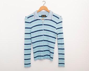 vintage 90s zipper cardigan knit sweater blue stripes