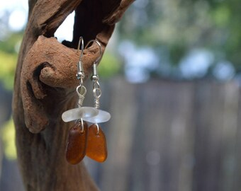 Beach Glass and Pebble Earrings