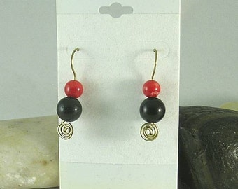 SALE Coral Onyx All in One Spiral Earrings - Celtic - Egyptian - Aztec