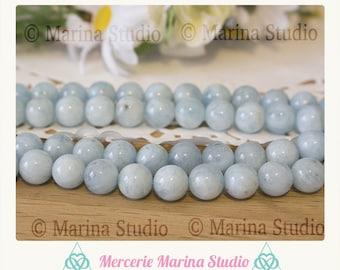 5 genuine pearls 8mm or 6mm aquamarine * reiki * chakras *.