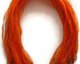 20 Orange Organza Ribbon Necklaces Chokers 17-18 Inches Plus Extension Chain