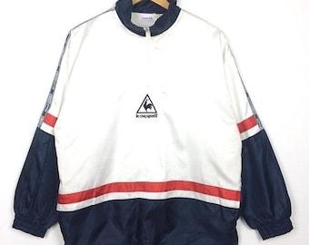 20% OFF Vintage LE COQ Sportif Pullover Jacket Sidetape At Shoulder Quarter Zipper Big Logo Multicolour Baggy Street Fashion