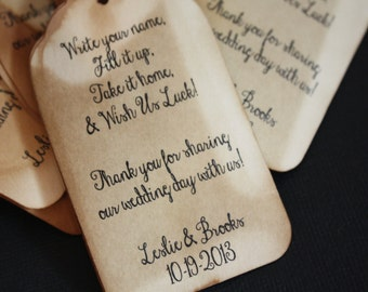 100 Personalized Wedding Drink Tag Fill It Up favor tags