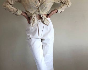 90s High Waisted White Denim Pants | 25W 2/4