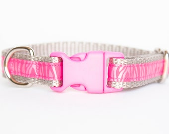 Petite Pup Collection Pink and Gray Zebra Print