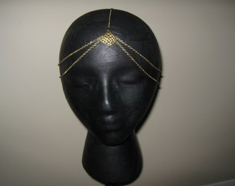 SILVER OR GOLD Boho bollywood chain head piece head band gold with triangle leaf detail