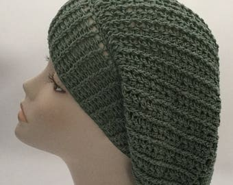 Crochet green beret, slouchy hat, slouchy beanie, hat gift for wife,gift for women, gift for her, women's beret, slouchy tam, cotton hats wo
