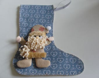 Christmas felt blue Santa Boot / light yellow