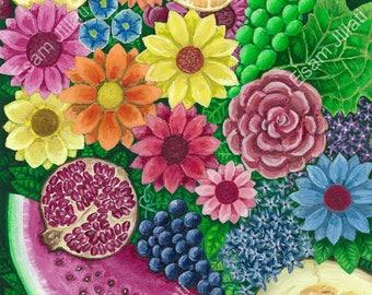 Original oil painting, Flowers, Fruits, Canadian artwork, North American art, oil color, realism