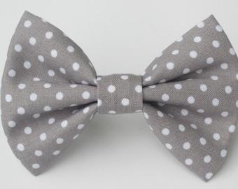 Smoke Gray with White Polka Dot Bow Tie-Medium